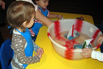 After making their own boats, kids can watch them float