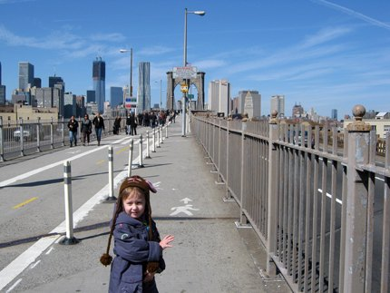 Walking over the Brooklyn Bridge--don't forget to follow the pedestrian path!