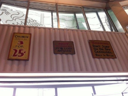 Vintage signs decorate the walls