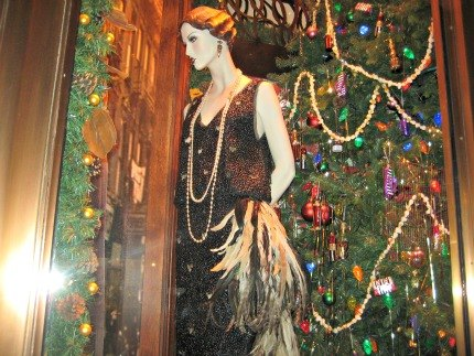 A black bean and feather gown at Henri Bendel