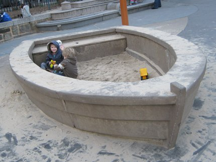 Main Street Playground's cool rowboat sandbox