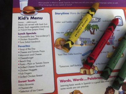 The children's menu will keep little ones happy