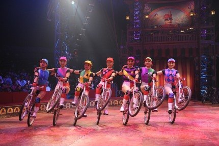 Super cyclists of the Big Apple Circus' Dalian Troupe; photo courtesy of the Big Apple Circus
