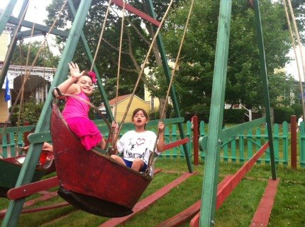 Get ready for a workout! Parents need to push their kids in the two swing-boat rides