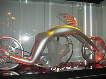 Lady Gaga as a sleek futuristic cycle at Barneys