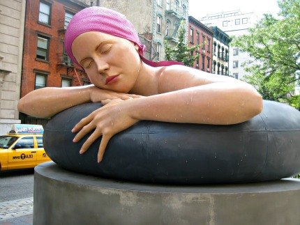 The incredibly realistic Survival of Serena statue in Petrosino Square