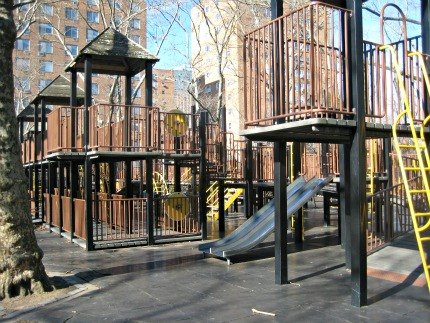 The big playground near St. Edwards Street has a fort-inspired double-decker play structure