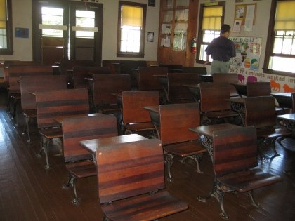 A one-room schoolhouse at the Amish Village