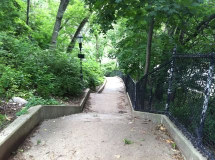 Are you a stair master? Be prepared to climb several flights access Isham Park, which sits atop a hill