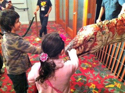 Petting prehistoric creatures at the post-show meet and greet