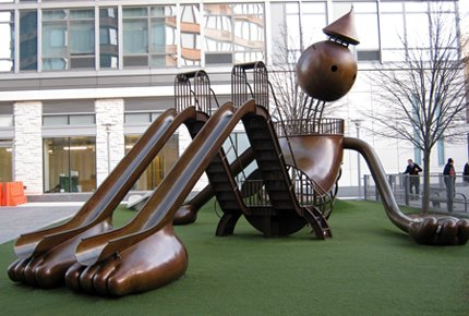 Tom Otterness' whimsical play structure at Silver Towers Playground