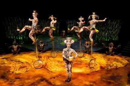 The unicycle troupe had to redo their big finale due to a botched trick