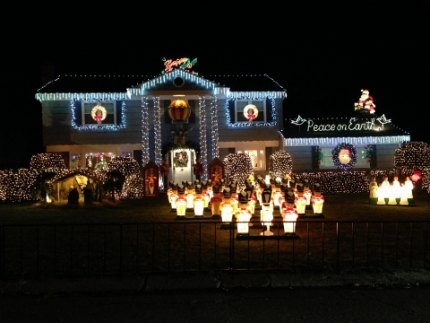 A battalion of illuminated toy soldiers greet you at this New Rochelle house on Vaneck Drive