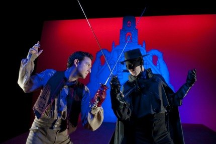 Zorro faces off against the evil Esteban in The Mark of Zorro; photo by Douglas Robertson