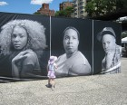 """Outside """"Becoming Visible"""" container, portraits of homeless transgender teens"""