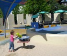 Chelsea Waterside Playground's toddler area is in the back
