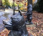 Whimsical bear sculptures at Adam Yauch Park, named for the late Beastie<br /> Boy who grew up playing here