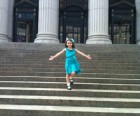 Reenacting a scene from Funny Face on the steps of the main Manhattan post office