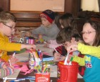Families making art together