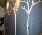 Birch trees carved into the stroller closets
