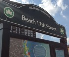 A regal sign and map at Beach 17th Street offers highlights of what you'll find<br /> in this beautiful mile-long beachfront park