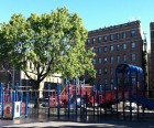 Marble Hill Playground, the sole romping spot in the neighborhood