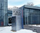 The exterior of Mariners Harbor Library is mostly glass, which means it's always bright inside