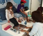 The pedicure area at Milk &amp; Cookies has adjustable padding to accommodate<br />children of different heights.
