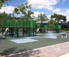 The second playground is nearby, separated from the first by a spray shower area