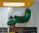 Lego Store mascot Brickley the Dragon...