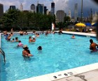 The shallow Pier 2 Pop-Up Pool is a favorite swimming spot for families