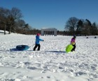 Sledding at the Temple to Music