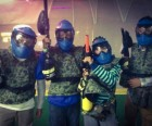 Suited up for reball paintball, which uses little rubber balls instead of messy paint