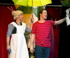 The boy and his nana find the Velveteen Rabbit in the rain