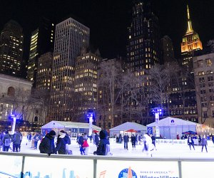 Bryant Park is home to many free things to do in NYC including the Bank of America Winter Village ice rink