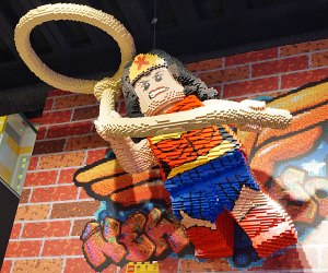 Say hello to a Lego Wonder Woman at the Fifth Avenue Lego Store, which you can explore for free