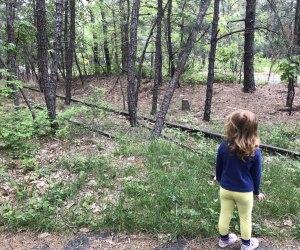 girl looking at railroad tracks along a hiking path