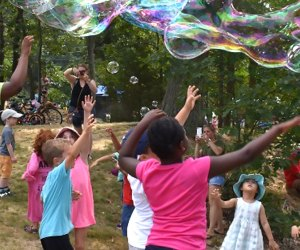 Bubbles are on tap at the 2019 Children's Summer Festival. Photo courtesy of the Boston Parks and Recreation Department