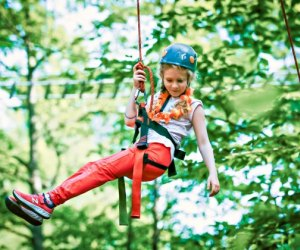 Zip lining is one of many adventurous activities at Camp Birch Hill. Photo courtesy of the camp