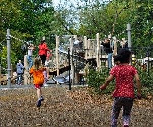 Children race toward Margaret L. Kempner Playground