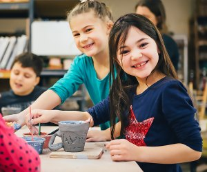Play with clay while spending quality time together at the Clay Art Center. Photo courtesy of the center