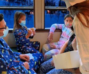 Christmas pajamas on board the Polar express
