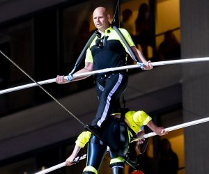 Nik Wallenda crosses a high-wire for the Big Apple Circus