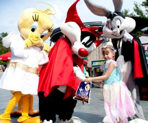 Kids can go trick-or-treating and meet their favorite characters at Six Flag's Fright Fest. Photo courtesy of Six Flags