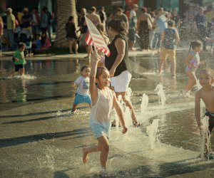 Families can splash around, picnic, and enjoy Fourth of July festivities at Grand Park + The Music Center's annual July 4th Block Party. Photo courtesy of Grand Park/The Music Center