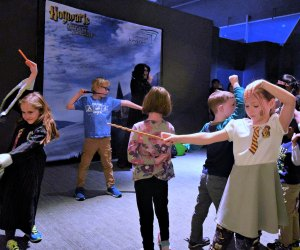 A Hogwarts professor can teach you how to properly use a wand in the Wand Demonstration at the Hogwarts exhibit. Photo courtesy of Connecticut Science Center