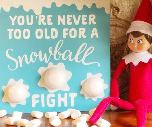 Elf on the Shelf is ready with marshmallows for morning cocoa
