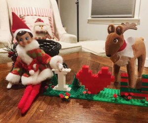 Elf on the Shelf spells out love with Legos