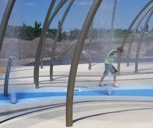 Kid in the Jones Beach splash pad