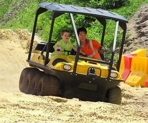 Drive, ride, and operate real heavy machinery at Diggerland USA. Photo courtesy of the park